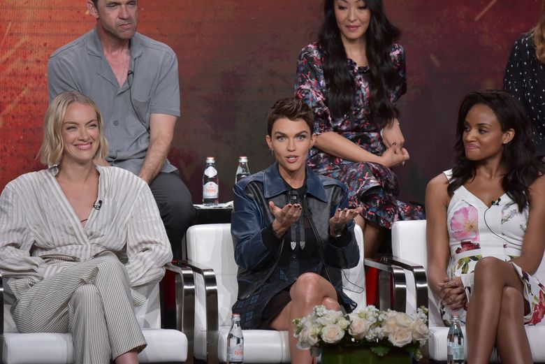 """Rachel Skarsten, from left, Ruby Rose and Meagan Tandy participate in The CW """"Batwoman"""" panel during the Summer 2019 Television Critics Association Press Tour at the Beverly Hilton Hotel on Sunday, Aug. 4, 2019, in Beverly Hills, Calif. (Photo by Richard Shotwell/Invision/AP)"""