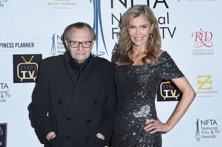 FILE – In this Dec. 5, 2018 file photo Larry King, left, and Shawn King attend the 2018 National Film & Television Awards at the Globe Theatre in Los Angeles. King has filed for divorce from his seventh wife, Shawn King, after 22 years. The 85-year-old talk show host filed a petition to end the marriage Tuesday, Aug. 20, 2019 in Los Angeles Superior Court. (Photo by Richard Shotwell/Invision/AP)