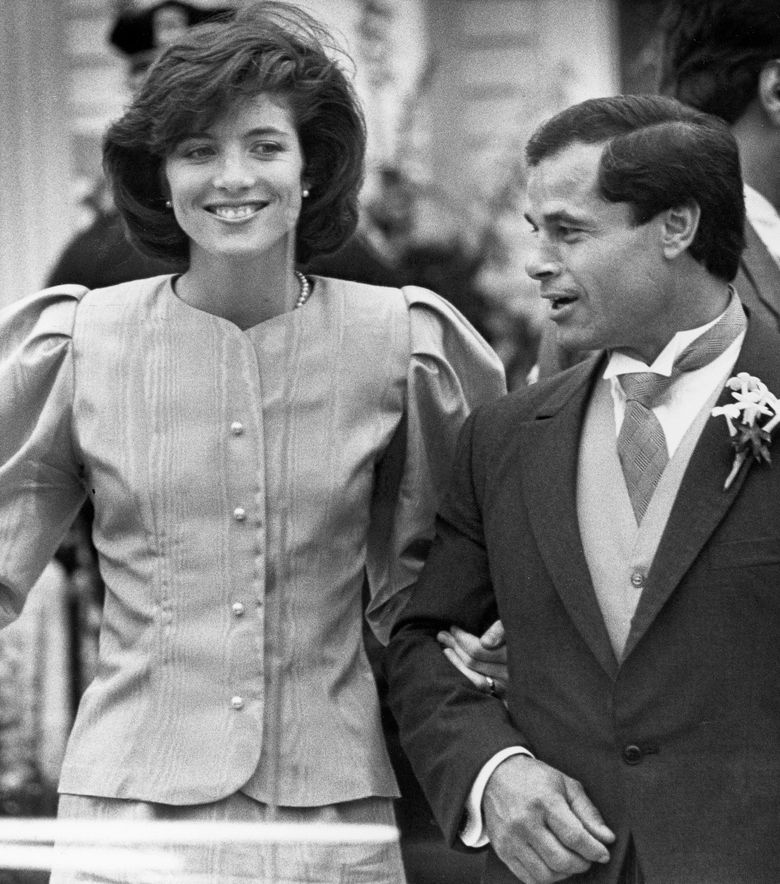 FILE – In this April 26, 1986 file photo, maid of Honor Caroline Kennedy and Best Man Franco Columbu, leave St. Francis Xavier Church after the wedding of Caroline's cousin Maria Shriver to Arnold Schwarzenegger in Hyannis, Mass.. Italian bodybuilder, boxer and actor Franco Columbu, one of Arnold Schwarzenegger's closest friends, has died aged 78. Columbu died in a hospital in his native Sardinia on Friday, Aug. 30, 2019 afternoon after being taken ill while he was swimming in the sea. (AP Photo/Mike Kullen, file)