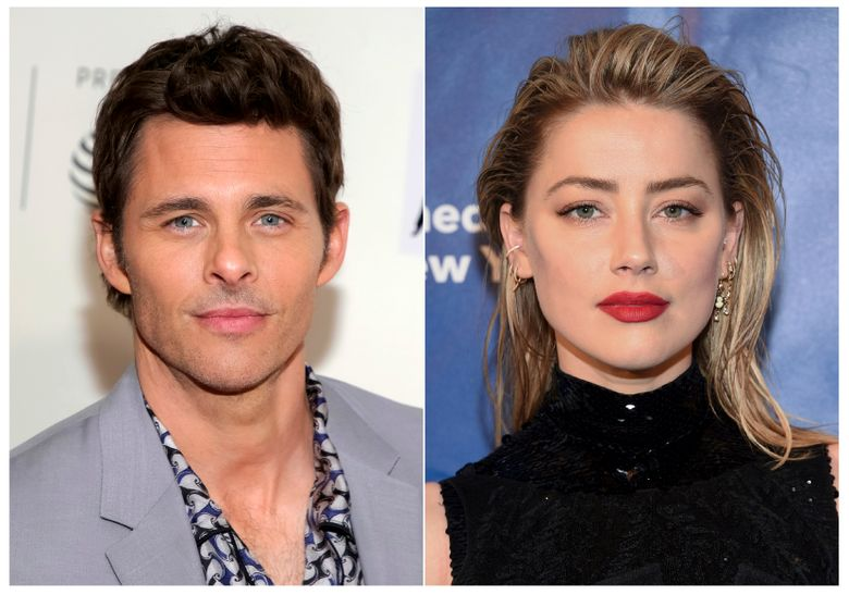 """This combination photo shows actor James Marsden at a screening of """"Westworld"""" during the 2018 Tribeca Film Festival in New York on April 19, 2018, left, and actress Amber Heard at the Planned Parenthood of New York City spring gala benefit in New York on May 1, 2019. Marsden and Heard will star in the CBS All Access limited series """"The Stand,"""" based on Stephen King's bestselling novel. (Photos by Brent N. Clarke, left, and Evan Agostini/Invision/AP)"""