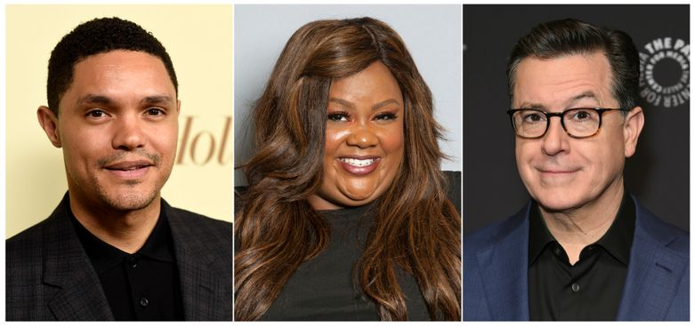This combination photo shows Trevor Noah, Nicole Byer and Stephen Colbert who are among the headliners announced for the 2019 New York Comedy Festival running from November 4 through November 10. (AP Photo)