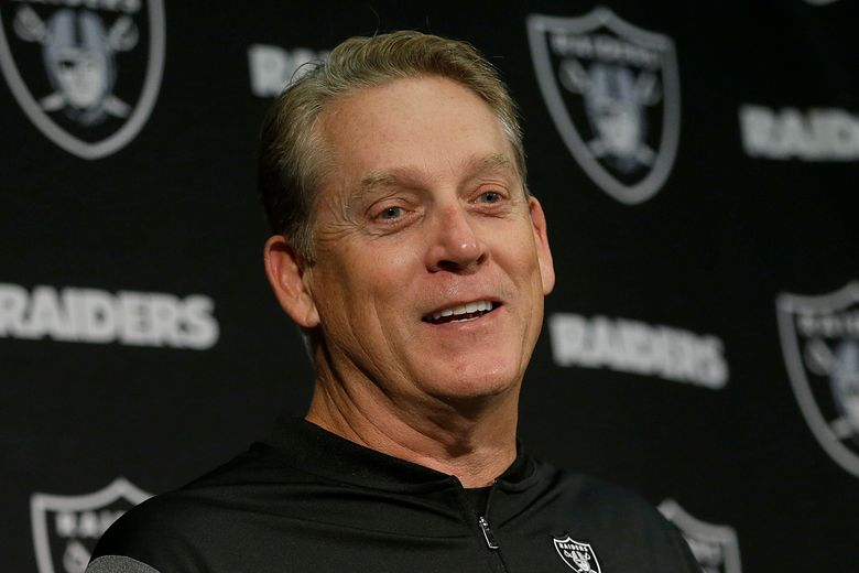 """FILE – In this Nov. 26, 2017, file photo, then-Oakland Raiders head coach Jack Del Rio speaks at a news conference after an NFL football game against the Denver Broncos in Oakland, Calif. Jack Del Rio never shied away from giving his opinion as a player and a coach. He isn't about to change his approach as an analyst. ESPN announced on Thursday, Aug. 15, 2019, that it has hired the former Jacksonville Jaguars and Oakland Raiders coach as an analyst. His first appearance will be Friday on """"NFL Live"""".(AP Photo/Ben Margot, File)"""