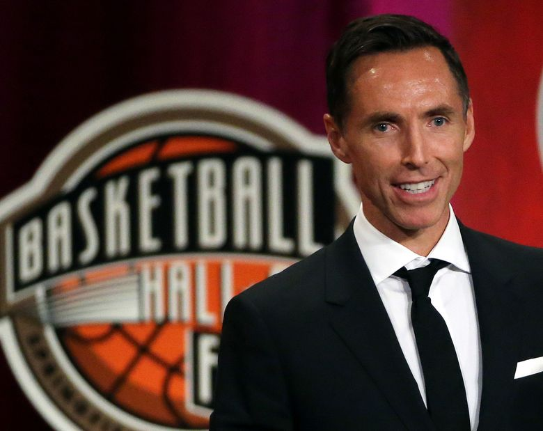 FILE – In this Sept. 7, 2018, file photo, Steve Nash speaks during induction ceremonies at the Basketball Hall of Fame, in Springfield, Mass. Nash is about to take on an expanded role in his second year with Turner Sports.  The network announced on Tuesday, Aug. 6, 2019, that Nash is returning to B/R Football's UEFA Champions League broadcasts on TNT and B/R Live. He will also be a contributor to TNT's NBA coverage when the upcoming season begins in October. (AP Photo/Elise Amendola, File)