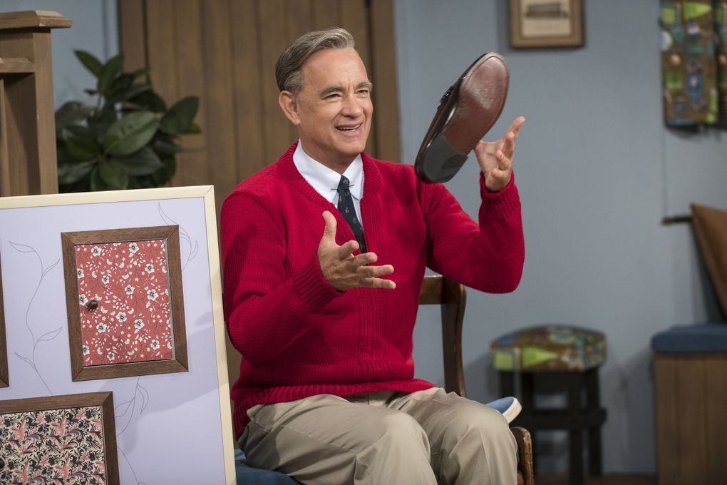"""Tom Hanks as Mister Rogers in """"A Beautiful Day in the Neighborhood,"""" in theaters Nov. 22. (Lacey Terrell / Sony-Tristar Pictures)"""