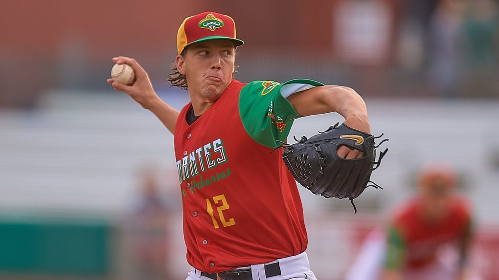 Mariners first-round draft pick Logan Gilbert pitches for the Arkansas Travelers on Aug. 24. (Mark Wagner / Arkansas Travelers)
