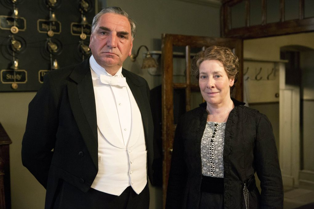 """Jim Carter as Carson and Phyllis Logan as Mrs. Hughes in season three of the """"Downton Abbey"""" series. (Giles Keyte / Carnival Films)"""