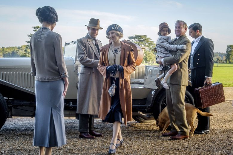 "Elizabeth McGovern, from left, Harry Hadden-Paton, Laura Carmichael, Hugh Bonneville and Michael Fox in ""Downton Abbey."" (Jaap Buitendijk / Focus Features)"