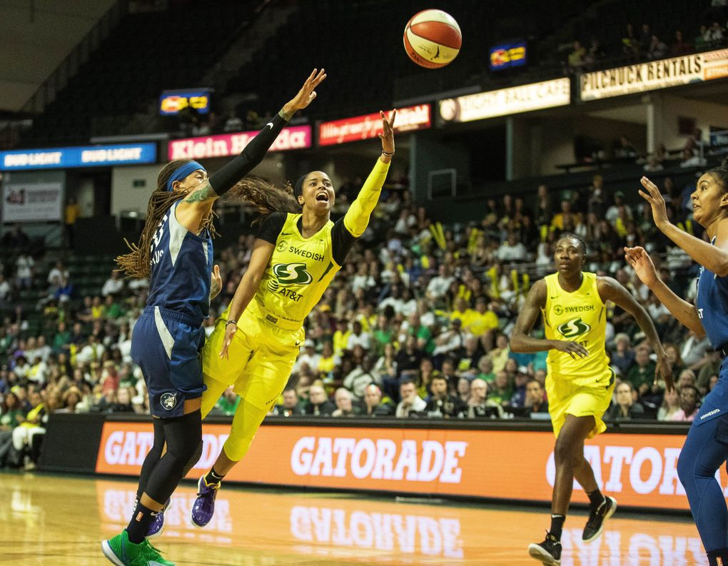Jordin Canada puts up a shot in the second half against Minnesota  in the first game of the WNBA Playoffs Wednesday September 11, 2019 at Angel of the Winds Arena in Everett, WA. (Dean Rutz / The Seattle Times)