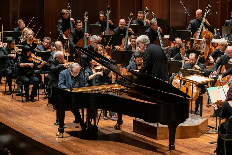 Pianist Yefim Bronfman and Seattle Symphony with conductor Thomas Dausgaard. (James Holt / Seattle Symphony