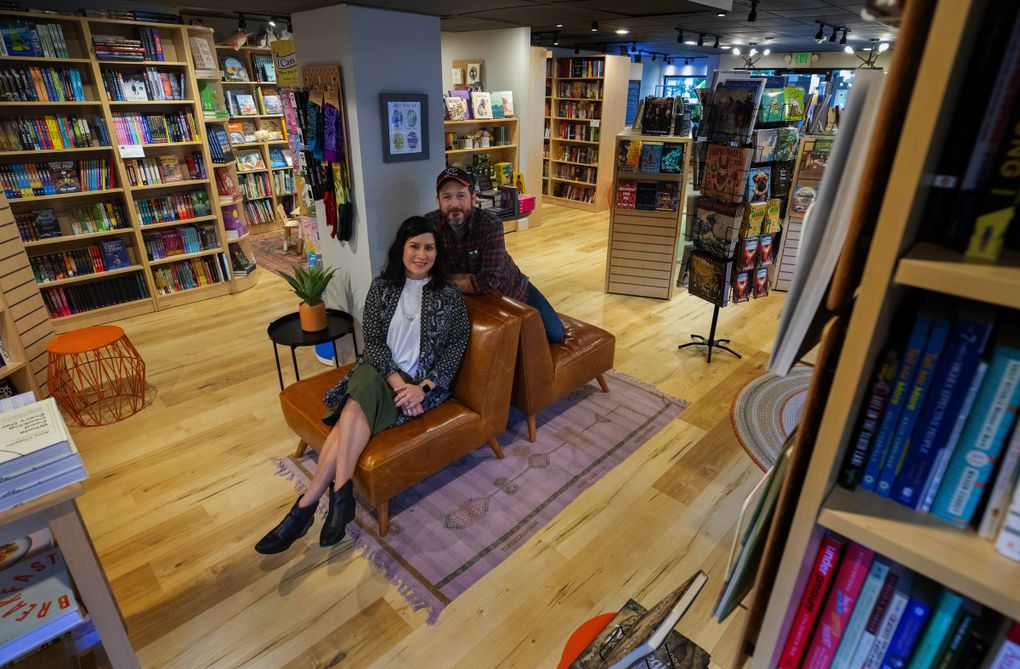 When Desirae Wilkerson and her husband, Eric Judy, opened Paper Boat Booksellers in West Seattle last fall, they never imagined that they'd be dealing with the economic fallout of a global pandemic in their first year of business. (Ellen M. Banner / The Seattle Times)