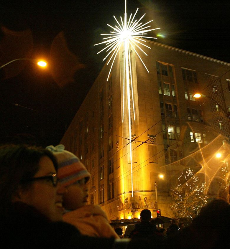 The Seattle Star (formerly the Macy's Christmas star) will be lit this year, along with the Westlake Center tree and Westlake Park light sculptures, on Friday, Nov. 27, at 5 p.m. The ceremony can be viewed on KIRO 7, or streamed on the Downtown Seattle Association, KIRO 7 and Warm 106.9 Facebook pages. (John Lok / The Seattle Times)