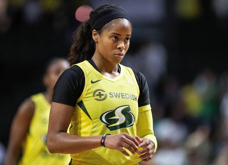 Jordin Canada had a career night scoring 26 against Minnesota in the first game of the WNBA Playoffs Wednesday September 11, 2019 at Angel of the Winds Arena in Everett, WA.  (Dean Rutz / The Seattle Times)