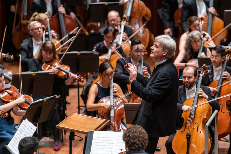 Thomas Dausgaard conducts the Seattle Symphony on opening night of its 2019-2020 season, the first in which Dausgaard is the symphony's music director. (James Holt / Seattle Symphony)