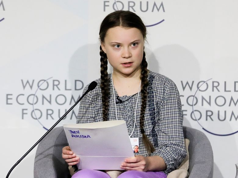 """CORRECTS TITLE OF BOOK – FILE – This Jan. 25, 2019 file photo shows climate activist Greta Thunberg during a session of the World Economic Forum in Davos, Switzerland. Thunberg has two books coming out in the United States, including an English-language edition of her memoir. Penguin Press announced Thursday, Sept. 19, that it will release Thunberg's memoir """"Our House Is On Fire"""" and a collection of her speeches, """"No One Is Too Small to Make a Difference,"""" which will include her upcoming address at the U.N. Climate Action Summit. (AP Photo/Markus Schreiber, File)"""