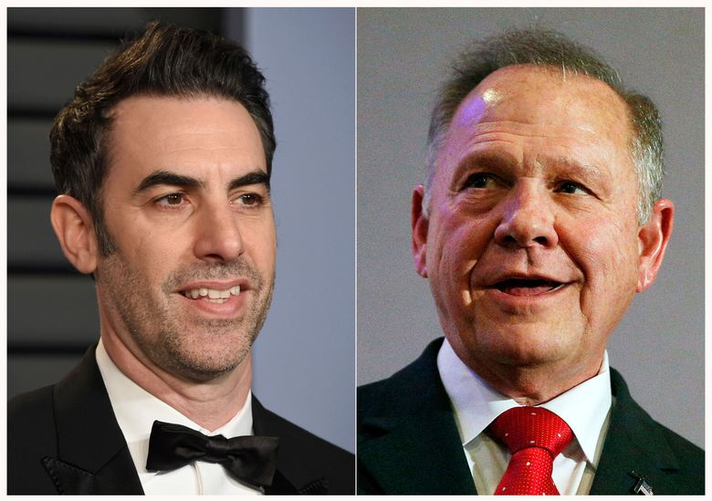 """This combination of photos shows actor-comedian Sacha Baron Cohen at the Vanity Fair Oscar Party in Beverly Hills, Calif. on March 4, 2018, left, and former Alabama Chief Justice and then U.S. Senate candidate Roy Moore at a news conference in Birmingham, Ala., on Nov. 16, 2017. Cohen is asking a federal judge to dismiss Roy Moore's defamation lawsuit over a 2018 television segment of """"Who is America?"""" Lawyers for Cohen, Showtime Networks and CBS wrote last week in a court filing that Moore signed an agreement waiving all legal claims before appearing on the segment. They also said the segment was satire and is protected under the First Amendment. (AP Photo)"""