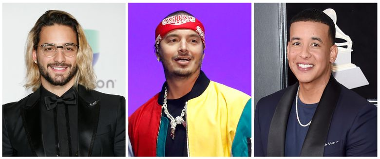 """This combination of file photos shows from left to right, Maluma,  J Balvin and Daddy Yankee. The popular Latin performers are lashing out at the Latin Grammys for dismissing them and other musicians from the reggaeton and Latin trap world in the top categories at its upcoming awards show. The Latin Grammys announced the nominees for its 2019 show Tuesday, Sept. 24, 2019, and the major categories didn't include performers like Balvin, Daddy Yankee, Bad Bunny, Nicky Jam, Maluma or Ozuna though the stars have dominated the music world. The Latin Recording Academy said in a statement that they """"hear the frustration and discontent."""" (Invision/AP, Files)"""