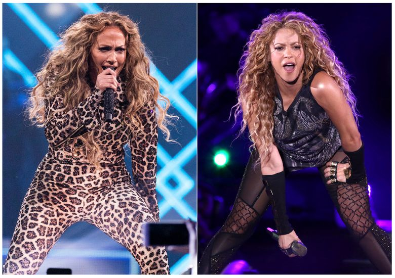 This combination photo shows actress-singer Jennifer Lopez performing at the Directv Super Saturday Night in Minneapolis on Feb. 3, 2018, left, and Shakira performing at Madison Square Garden in New York on Aug. 10, 2018. The NFL, Pepsi and Roc Nation announced Thursday, Sept. 26, 2019, that Lopez and Shakira will perform at the 2020 Pepsi Super Bowl Halftime Show on Feb. 2, 2020 at Hard Rock Stadium in Miami Gardens, Fla. (Photo by Michael Zorn, left, Greg Allen/Invision/AP)