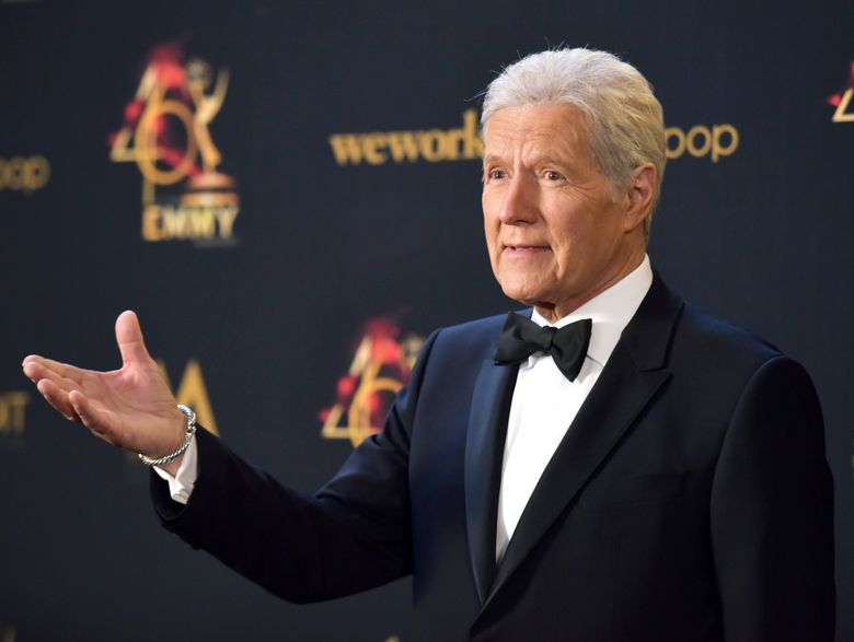 FILE – In this May 5, 2019, file photo Alex Trebek poses in the press room at the 46th annual Daytime Emmy Awards at the Pasadena Civic Center in Pasadena, Calif. Trebek said Tuesday, Sept. 17, that he's had a setback in his battle with pancreatic cancer and is undergoing chemotherapy again.(Photo by Richard Shotwell/Invision/AP, File)