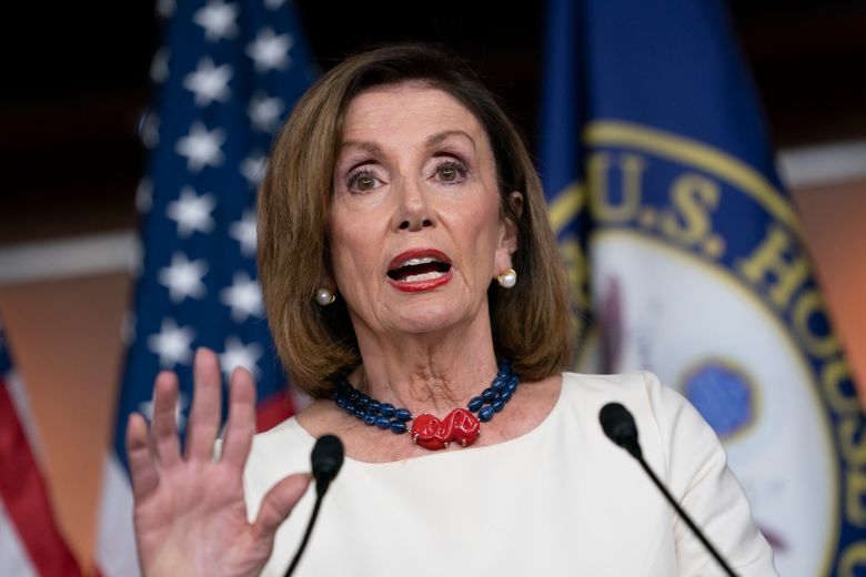 Speaker of the House Nancy Pelosi, D-Calif., addresses reporters at the Capitol in Washington, Thursday, Sept. 26, 2019, as Acting Director of National Intelligence Joseph Maguire appears before the House Intelligence Committee about a secret whistleblower complaint involving President Donald Trump. Pelosi committed Tuesday to launching a formal impeachment inquiry against Trump. (AP Photo/J. Scott Applewhite)