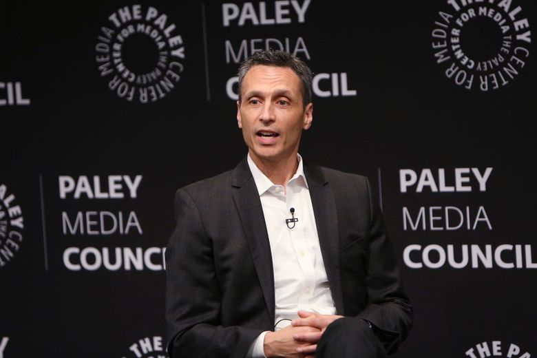 In this photo provided by Starpix, James Pitaro speaks at the Paley Center for Media in New York, Thursday, Sept. 12, 2019. ESPN President Jimmy Pitaro expects competition from Silicon Valley when the NFL's television contracts come up for renewal. The cable network's $15.2 billion, eight-year contract with the league for Monday night games runs through 2021. CBS, NBC and Fox and NBC have deals with the NFL that extend to 2022. Amazon, Google and Facebook could be among the bidders. (Patrick Huban/Starpix via AP)