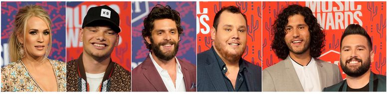 This combination photo shows, from left,  Carrie Underwood, Kane Brown, Thomas Rhett, Luke Combs and Dan + Shay at the CMT Music Awards in Nashville, Tenn. These performers will be honored as the country's top stars at the 10th annual CMT Artists of the Year television special. (AP Photo/Sanford Myers)