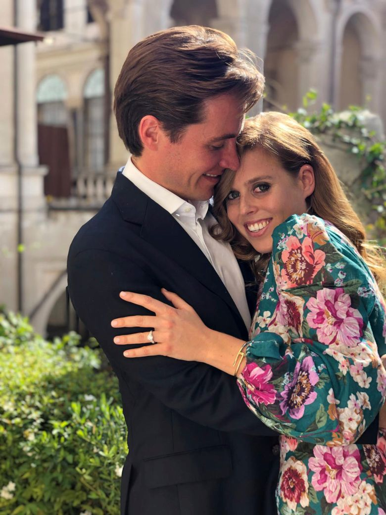 This undated photo released by Buckingham Palace shows Britain's Princess Beatrice and Edoardo Mapelli Mozzi, in Italy. Prince Andrew and his former wife Sarah Ferguson announced on Thursday Sept. 25, 2019, the engagement of their elder daughter, Princess Beatrice to Edoardo Mapelli Mozzi. (Princess Eugenie/Buckingham Palace via AP)