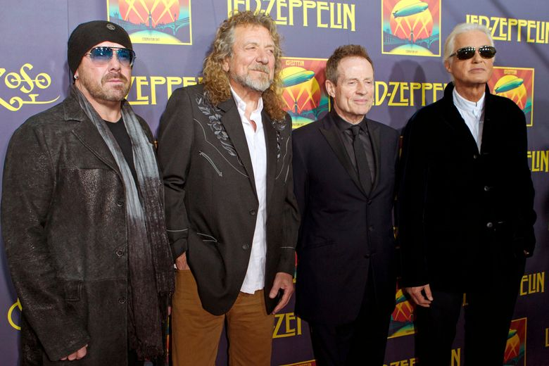 """FILE – This Oct. 9, 2012 file photo shows, from left, Jason Bonham, son of the late Led Zeppelin drummer John Bonham; singer Robert Plant; bassist John Paul Jones; and guitarist Jimmy Page at the """"Led Zeppelin: Celebration Day"""" premiere in New York.  Members of an 11-judge panel of the 9th U.S. Circuit Court of Appeals harshly challenged plaintiffs who argued that a new trial in the copyright fight over Led Zeppelin's """"Stairway to Heaven is justified. The lawsuit that alleges 1971's """"Stairway"""" was stolen from 1968's """"Taurus,"""" by Spirit. (Photo by Dario Cantatore/Invision/AP, File)"""