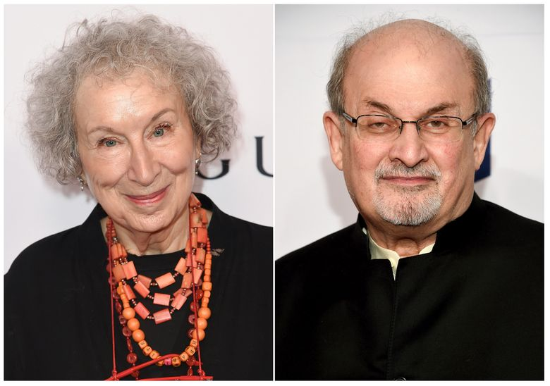 """This combination photo shows author Margaret Atwood at 2018 Equality Now's """"Make Equality Reality"""" gala in Beverly Hills, Calif., on Dec. 3, 2018, left, and author Salman Rushdie at the 68th National Book Awards Ceremony in New York on Nov. 15, 2017. Atwood's """"The Testaments,"""" her highly anticipated sequel to """"The Handmaid's Tale,"""" and Rushdie's """"Quichotte,"""" a modern telling of """"Don Quixote,"""" are among six works shortlisted for the Booker Prize for Fiction. This year's winner will be announced October 14 during a ceremony in London. (AP Photo)"""