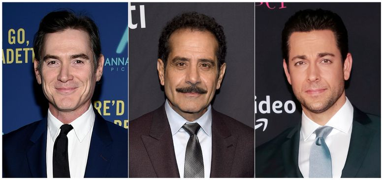 """This combination photo shows actors, from left, Billy Crudup, Tony Shalhoub and Zachary Levi who will participate in a reading of Don DeLillo's """"Pafko at the Wall,"""" a  fictionalization of the 1951 playoff game between the Brooklyn Dodgers and the New York Giants. The reading will take place Oct. 3 at Manhattan's 92nd Street Y. (AP Photo)"""