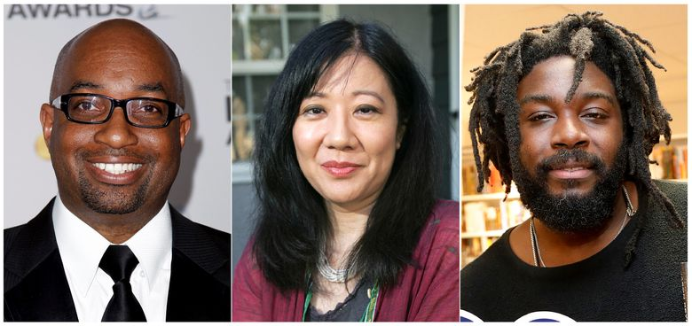 """This combination of photos show authors, from left, Kwame Alexander, Cynthia Kadohata and Jason Reynolds are among the 10 authors on the young people's literature longlist for the National Book Awards. he awards are presented by the National Book Foundation. Alexander was nominated for """"The Undefeated,"""" Kadohata, winner of the National Book Award in 2013 for """"The Thing About Luck,"""" was nominated for """"A Place to Belong,"""" and Reynolds was nominated for """"Look Both Ways,"""" ten stories connected around what happens after school ends for the day. (AP Photo)"""
