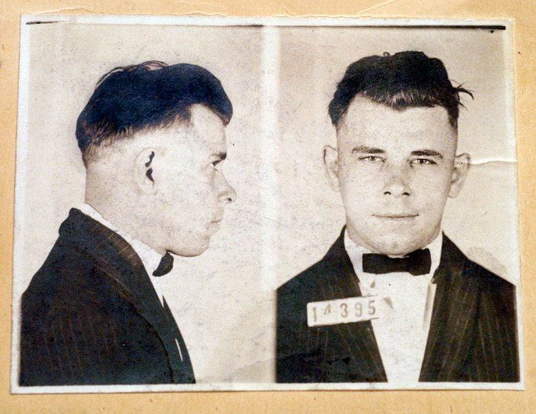 FILE – This file photo shows Indiana Reformatory booking shots of John Dillinger, stored in the state archives. The History Channel has dropped out of a planned documentary on John Dillinger that would have included the exhumation of the 1930s gangster's Indianapolis gravesite. A&E Networks spokesman Dan Silberman says The History Channel is no longer involved in the Dillinger documentary. Silberman says the network won't comment on why it has withdrawn from the project. The planned exhumation of Dillinger's grave is the subject of a lawsuit. (Indiana State Archives/The Indianapolis Star via AP, File)