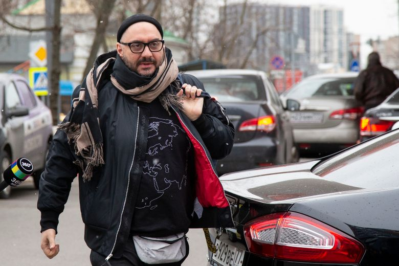 FILE – In this Friday, April 12, 2019 file photo, Russian theatre and film director Kirill Serebrennikov walks to attend a court hearing in Moscow, Russia. A Moscow court has dismissed the case against an acclaimed theater director, two years after he was accused of embezzlement and put under house arrest. The court, which has been holding hearings in the trial of Kirill Serebrennikov and his associates for ten months, ruled Wednesday, Sept. 11 to return the case to prosecutors due to a lack of evidence. Serebrennikov and his associates were facing charges of embezzling state funding for a theater project. Serebrennikov dismissed the charges as trumped up. (AP Photo/Alexander Zemlianichenko, file)