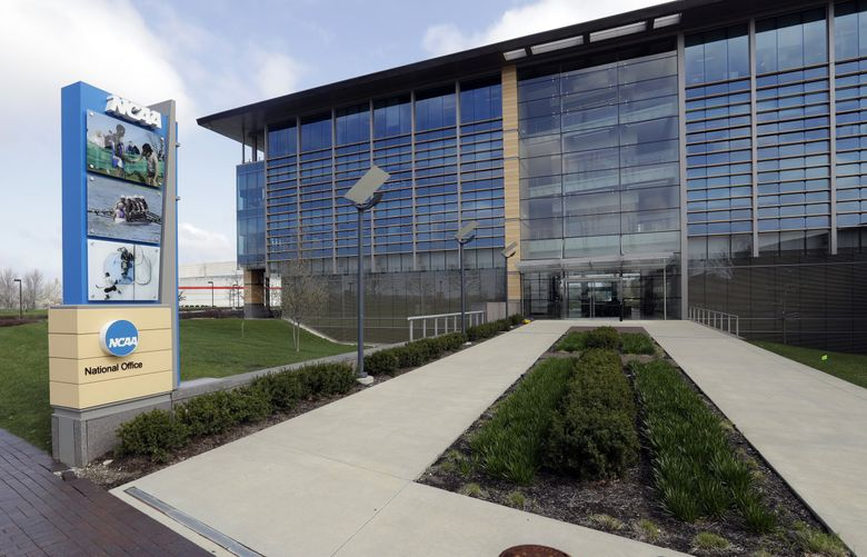 This is an April 25, 2018, file photo showing NCAA headquarters in Indianapolis. (Darron Cummings / AP)