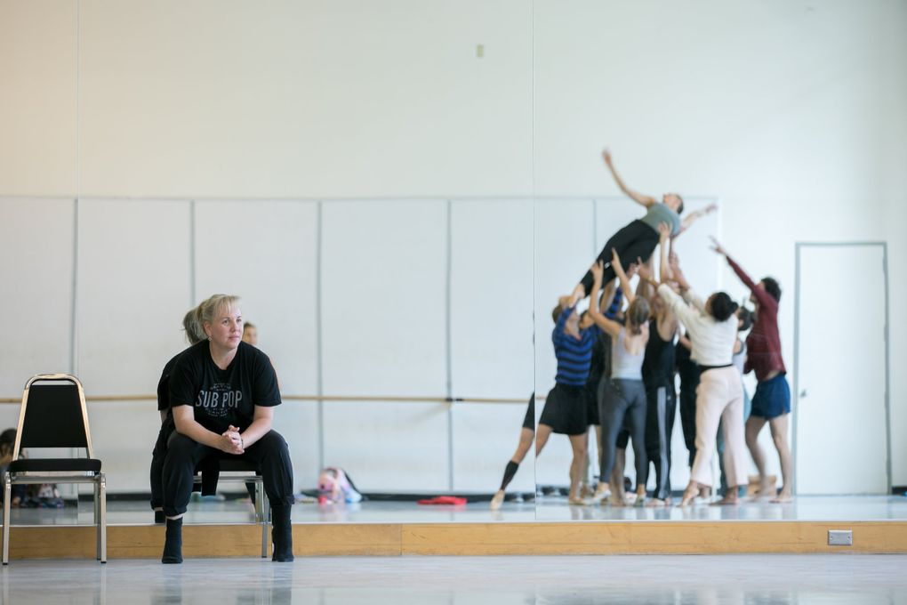 """Choreographer Eva Stone rehearses her new work, """"F O I L,"""" with Pacific Northwest Ballet company dancers. PNB will premiere """"F O I L,"""" along with new works by Donald Byrd and Miles Pertl, as part of the """"Locally Sourced"""" program Nov. 8-17. (Lindsay Thomas)"""