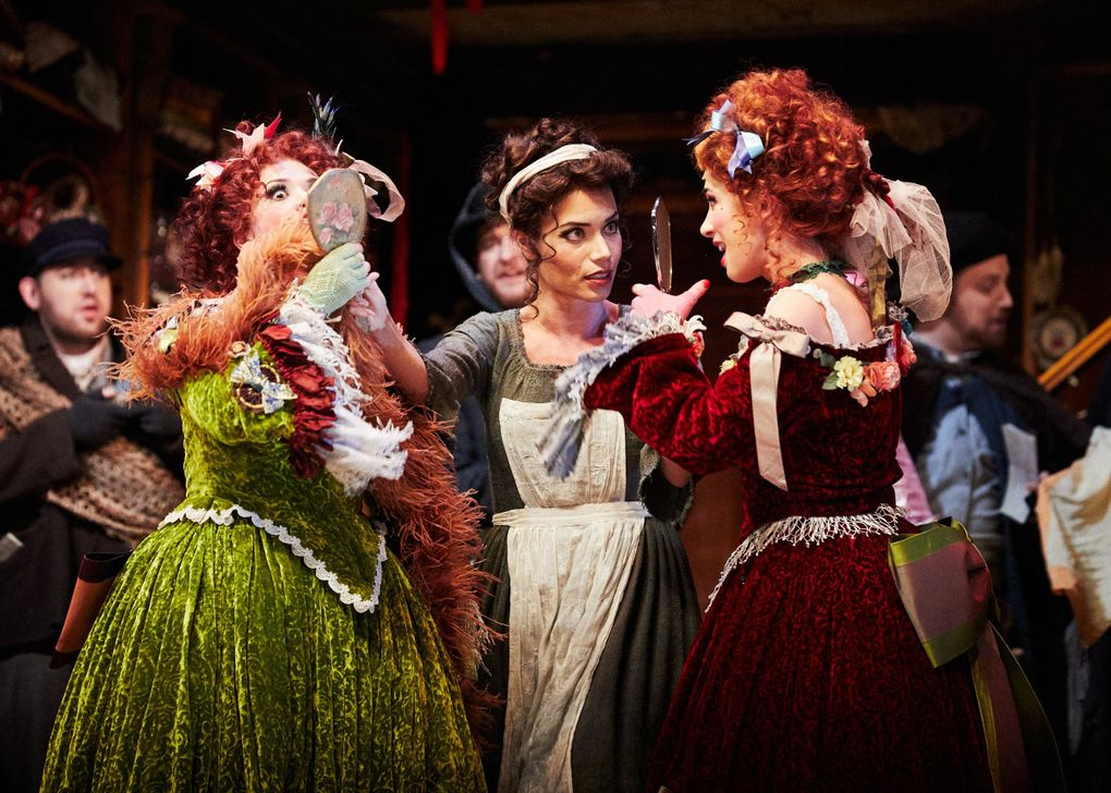"Miriam Costa-Jackson (Clordina), Ginger Costa-Jackson (Cinderella), and Maya Gour (Tisbe) in Seattle Opera's ""Cinderella."" (Philip Newton)"