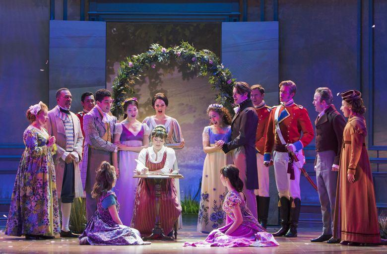 "Laura Michelle Kelly (seated center) stars as Jane Austen in ""Austen's Pride"" at The 5th Avenue Theatre. (Tracy Martin)"