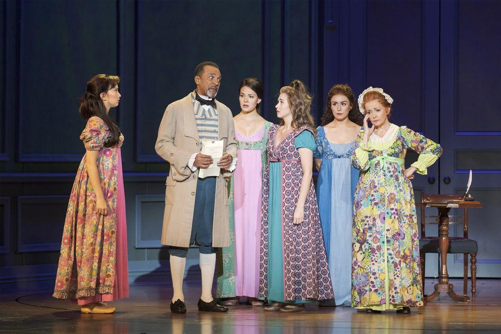 "Left to right: Delphi Borich (Lydia Bennet), Clifton Davis (Mr. Bennet), Manna Nichols (Jane Bennet), Katie Dixon (Kitty Bennet), Olivia Hernandez (Elizabeth Bennet), and Michele Ragusa (Mrs. Bennet) in ""Austen's Pride."" (Tracy Martin)"