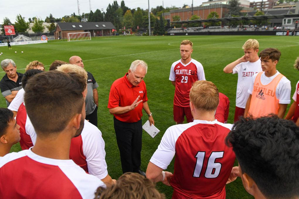 Seattle U men's soccer head coach Pete Fewing rallies his players during a  game against San Francisco on Aug. 30, 2019. (Courtesy Seattle U Athletics)