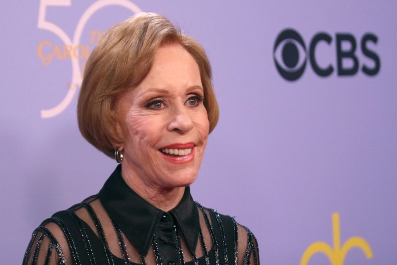 """FILE – In this Wednesday, Oct. 4, 2017, file photo, Carol Burnett arrives at the """"The Carol Burnett 50th Anniversary Special"""" at the CBS Television City in Los Angeles. For at least one night, Burnett was a writer among writers: The beloved entertainer was among three panelists Thursday, Oct. 24, 2019, for """"An Evening of Memoir,"""" presented in Manhattan by the MacDowell artist colony. (Photo by Willy Sanjuan/Invision/AP, File)"""