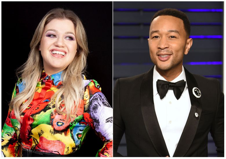 """This combination photo shows singer and talk show host Kelly Clarkson during a portrait session in Los Angeles to promote her animated film """"Uglydolls"""" in April 14, 2019, left, and singer John Legend at the Vanity Fair Oscar Party in Beverly Hills, Calif. on Feb. 24, 2019. Clarkson and Legend have joined forces on a reimagined version of the oft-criticized Christmas classic """"Baby It's Cold Outside."""" (AP Photo)"""