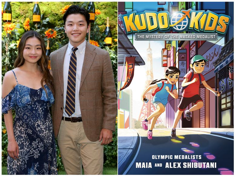 """This combination photo shows sibling Olympic ice dancers Maia and Alex Shibutani, and a cover of their middle grade book """"Kudo Kids: The Mystery of the Masked Medalist,"""" scheduled for release on May 12. (AP Photo, left, Razorbill via AP)"""