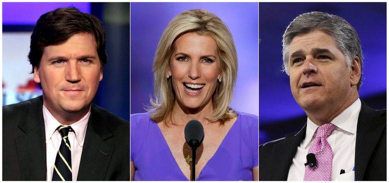 """This combination photo shows, from left, Tucker Carlson, host of """"Tucker Carlson Tonight,""""  Laura Ingraham, host of """"The Ingraham Angle,"""" and Sean Hannity, host of """"Hannity"""" on Fox News. Critics of President Donald Trump who wonder about the tenacity of his supporters need only to spend three hours with Fox News Channel's headliners to understand why. Carlson, Hannity and Ingraham reach roughly three to four million people per weeknight with a full-throated defense of the president. Tuesday night, Carlson referenced """"impeachment insanity."""" Hannity denounced """"coup attempts."""" And a guest on Ingraham's show compared a government whistleblower to a suicide bomber. (AP Photo)"""