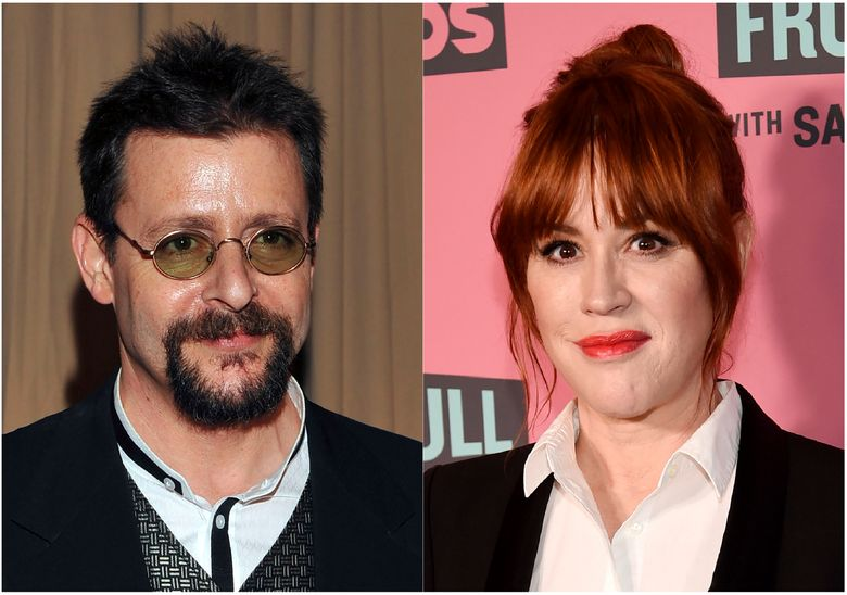 """This combination photo shows actor Judd Nelson backstage during the 82nd Academy Awards in Los Angeles on March 7, 2010, left, and actress Molly Ringwald at a screening in Beverly Hills, Calif. on May 24, 2018. Nelson says he doesn't share the misgivings about """"The Breakfast Club"""" that co-star Ringwald expressed in a first-person column for The New Yorker in 2018. She wrote about watching the movie a few years earlier with her then 10-year-old daughter and the interactions that her character had with the bad boy portrayed by Nelson. He says he thinks the 1985 movie is """"a product of its time."""" (AP Photo)"""