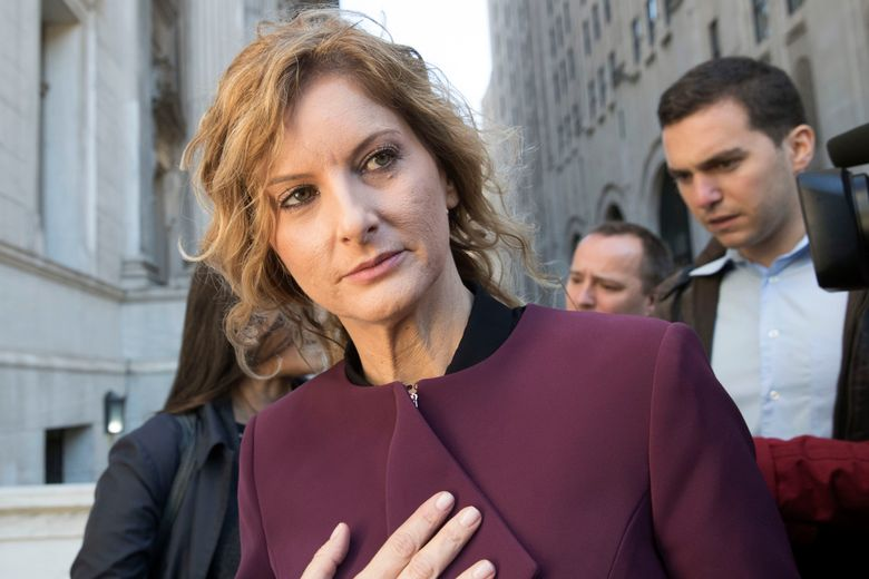 """FILE – In this Oct. 18, 2018 file photo, Summer Zervos leaves New York state appellate court in New York. Lawyers for a woman who accused President Donald Trump of unwanted kissing and groping in 2007 say records from his own calendar help prove her claim. Trump lawyer Marc Kasowitz responded Thursday, Oct. 24, 2019, that Zervos' claims are """"entirely meritless and not corroborated by any documents."""" (AP Photo/Mary Altaffer, File)"""