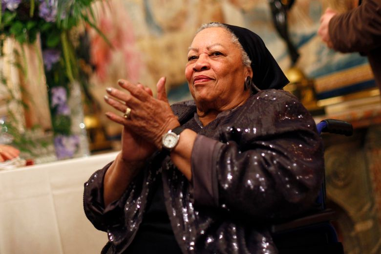 """FILE – In this Sept. 21, 2012, file photo, U.S. novelist Toni Morrison applauds as she attends the America Festival at the U.S. embassy, in Paris. A book of Toni Morrison quotations is coming out in December 2019. """"The Measure of Our Lives: A Gathering of Wisdom"""" will draw from her whole body of work, including such celebrated novels as """"Beloved"""" and """"Song of Solomon."""" The foreword is by Zadie Smith, adapted from a tribute she wrote soon after the Nobel laureate died in August 2019 at age 88. (AP Photo/Thibault Camus, File)"""