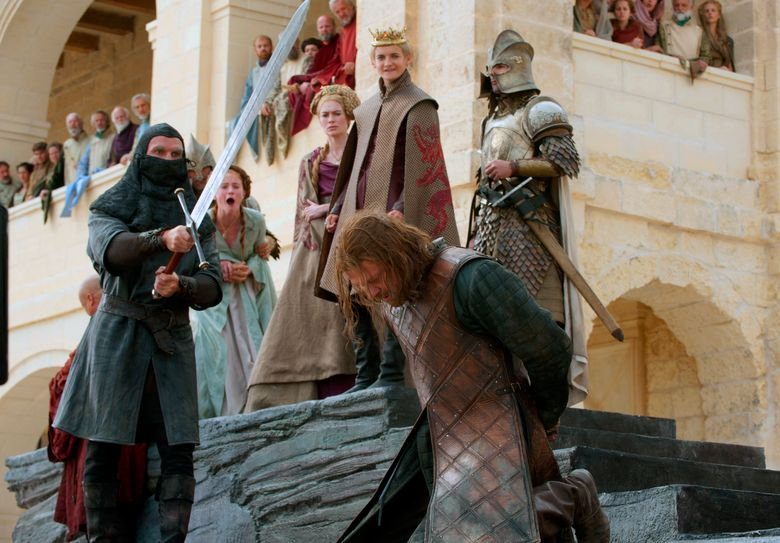 """This image released by HBO shows Sean Bean, foreground, and Sophie Turner, background from second left, Lena Headey and Jack Gleeson in a scene from the first season of """"Game of Thrones."""" HBO is green-lighting a new """"Game of Thrones"""" prequel after reportedly canceling another that starred Naomi Watts. The cable channel said Tuesday, Oct. 29, 2019, that it's given a 10-episode order to """"House of the Dragon,"""" set 300 years before the original series that ended its eight-season run in May. (HBO via AP)"""