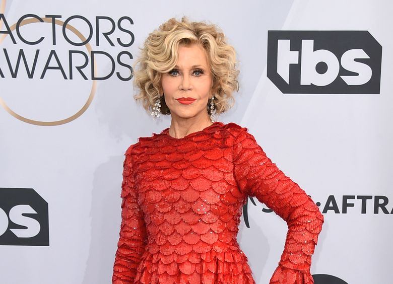 FILE – This Jan. 27, 2019 file photo shows Jane Fonda at the 25th annual Screen Actors Guild Awards in Los Angeles. Fonda was arrested at the U.S. Capitol on Friday, Oct. 11, while peacefully protesting climate change. The actress and activist was handcuffed on the east side steps and escorted into a police vehicle. Video of the arrest circulated online. (Photo by Jordan Strauss/Invision/AP, File)