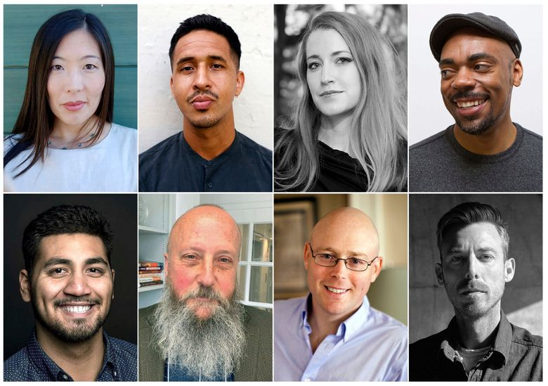 This combination photo of images released by the Whiting Foundation shows, top row from left, Ilyon Woo, Walter Thompson-Hernandez, Kristen Radtke and Channing Gerard Joseph, bottom row from left, Albert Samaha, Jim Morris, Wil S. Hylton and Damon Tabor, who are recipients of $40,000 grants from the Whiting Foundation. (Whiting Foundation via AP)