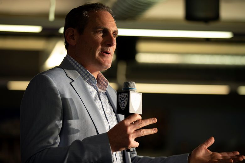 Commissioner Larry Scott speaks during the Pac-12 NCAA college basketball media day, in San Francisco, Tuesday, Oct. 8, 2019. (D. Ross Cameron / AP)
