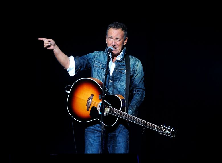 """FILE – In this Nov. 5, 2018 file photo, Bruce Springsteen performs at the 12th annual Stand Up For Heroes benefit concert at the Hulu Theater at Madison Square Garden in New York. Springsteen surprised moviegoers by introducing his new concert film in his New Jersey hometown. The Asbury Park Press reports Springsteen introduced two showings of """"Western Stars"""" at the AMC Loews Freehold Metroplex Cinema in Freehold on Saturday, Oct. 19, 2019.  (Photo by Brad Barket/Invision/AP, File)"""